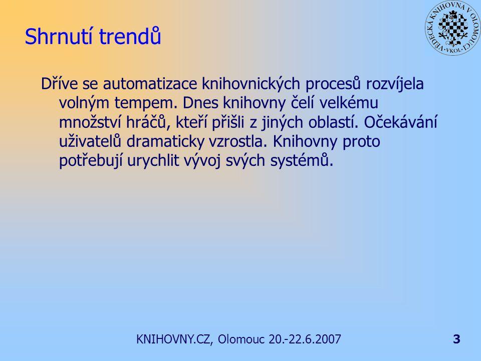 KNIHOVNY.CZ, Olomouc 20.-22.6.20073 Shrnutí trendů Dříve se automatizace knihovnických procesů rozvíjela volným tempem.