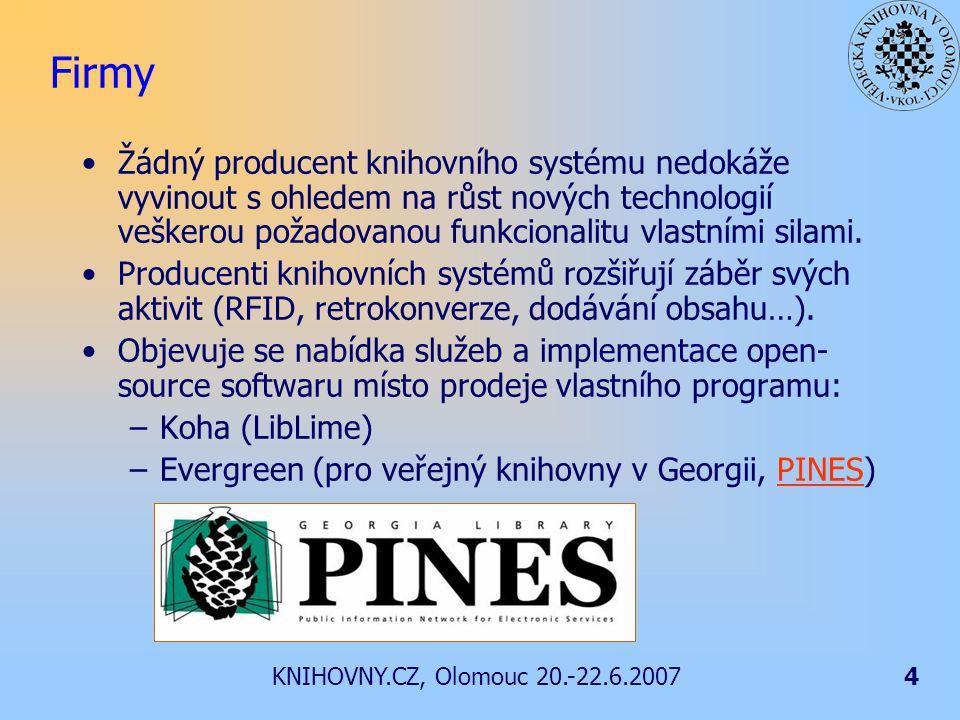 KNIHOVNY.CZ, Olomouc 20.-22.6.20074 Firmy Žádný producent knihovního systému nedokáže vyvinout s ohledem na růst nových technologií veškerou požadovanou funkcionalitu vlastními silami.