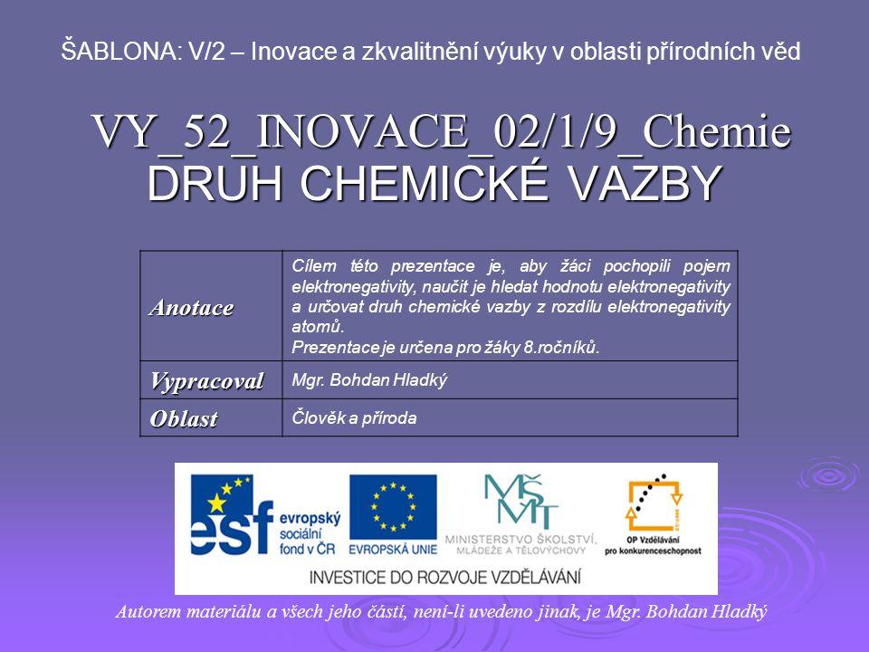 VY_52_INOVACE_02/1/9_Chemie DRUH CHEMICKÉ VAZBY Autorem materiálu a všech jeho částí, není-li uvedeno jinak, je Mgr. Bohdan Hladký ŠABLONA: V/2 – Inov