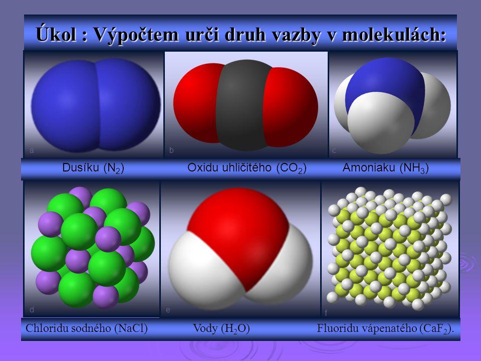 Úkol : Výpočtem urči druh vazby v molekulách: Dusíku (N 2 ) Oxidu uhličitého (CO 2 ) Amoniaku (NH 3 ) Chloridu sodného (NaCl) Vody (H 2 O) Fluoridu vá