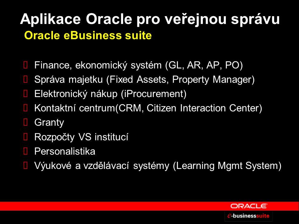 Aplikace Oracle pro veřejnou správu Oracle eBusiness suite  Finance, ekonomický systém (GL, AR, AP, PO)  Správa majetku (Fixed Assets, Property Manager)  Elektronický nákup (iProcurement)  Kontaktní centrum(CRM, Citizen Interaction Center)  Granty  Rozpočty VS institucí  Personalistika  Výukové a vzdělávací systémy (Learning Mgmt System)
