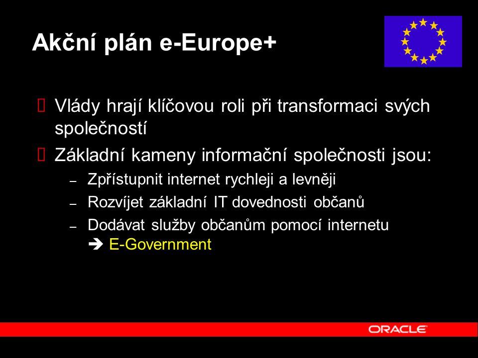 Akční plán e-Europe+  Vlády hrají klíčovou roli při transformaci svých společností  Základní kameny informační společnosti jsou: – Zpřístupnit internet rychleji a levněji – Rozvíjet základní IT dovednosti občanů – Dodávat služby občanům pomocí internetu  E-Government