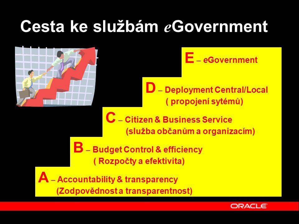 Accountability – Zodpovědnost a transparentnost  Zprůhlednění procesů je klíčové pro veřejnou správu  Začít od finančních, nákupních a personálních systémů  Umožnit 360° pohled na vztahy G2G a G2E při zachování a respektování senzitivnosti informací  Nástroje Business Intelligence pro manažerské analýzy klíčových informací