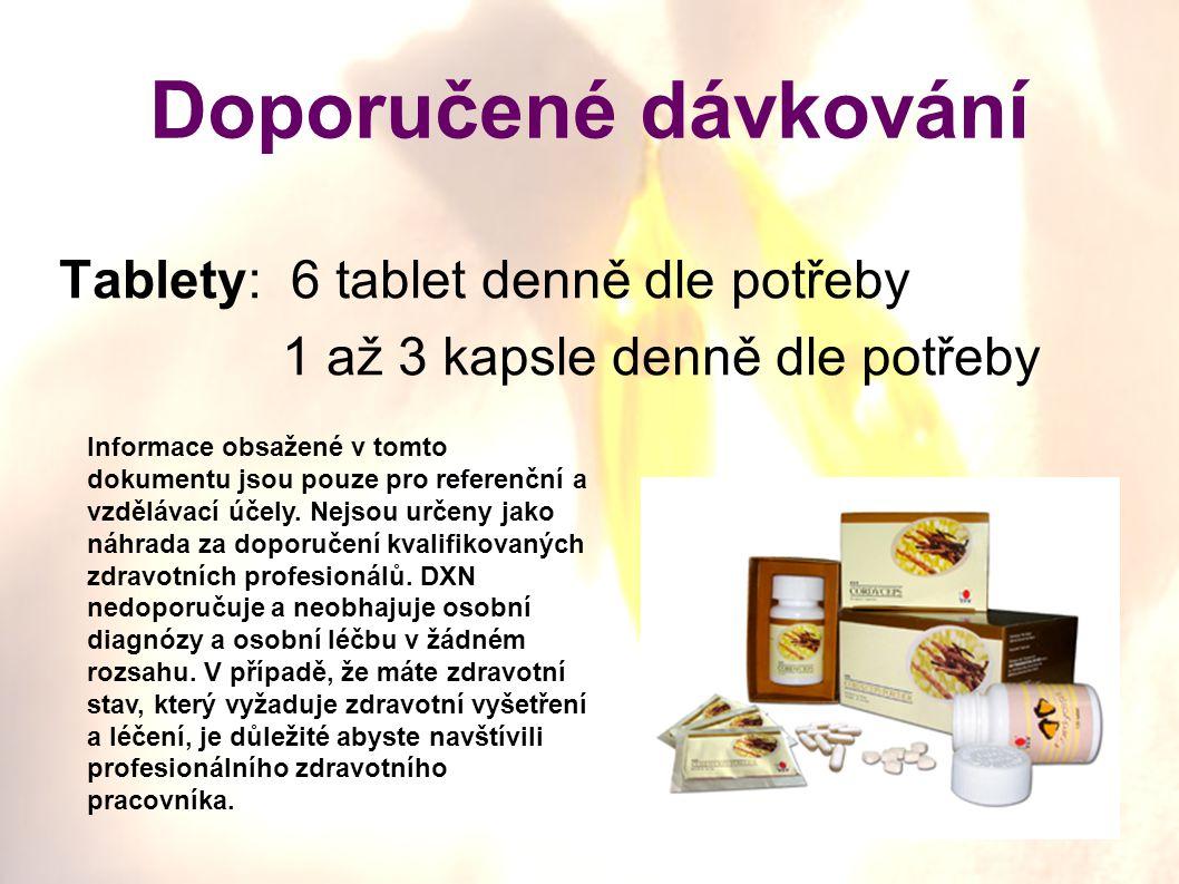 Doporučené dávkování Tablety: 6 tablet denně dle potřeby 1 až 3 kapsle denně dle potřeby Informace obsažené v tomto dokumentu jsou pouze pro referenčn