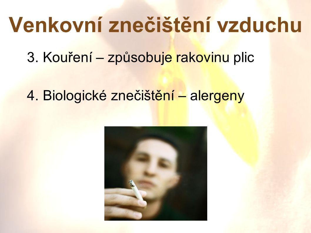 Venkovní znečištění vzduchu 3. Kouření – způsobuje rakovinu plic 4. Biologické znečištění – alergeny