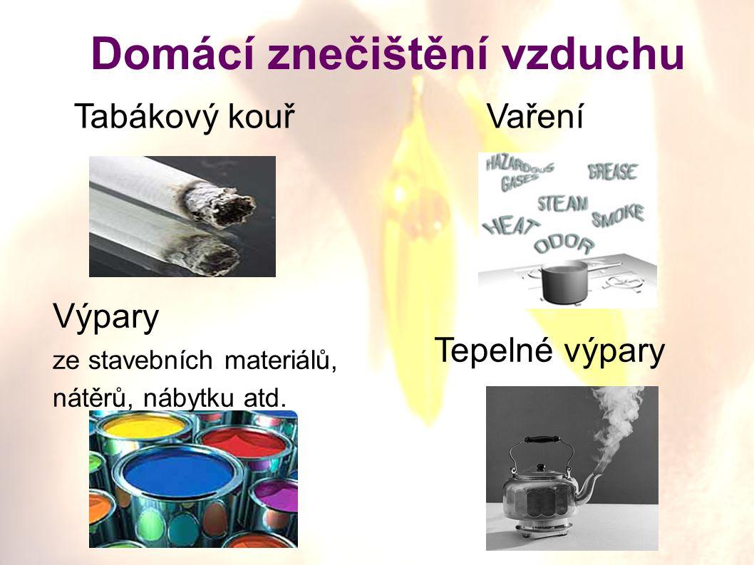 Domácí znečištění vzduchu Tabákový kouřVaření Tepelné výpary Výpary ze stavebních materiálů, nátěrů, nábytku atd.