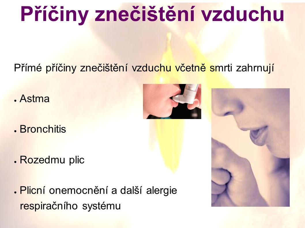Příčiny znečištění vzduchu Přímé příčiny znečištění vzduchu včetně smrti zahrnují ● Astma ● Bronchitis ● Rozedmu plic ● Plicní onemocnění a další alergie respiračního systému