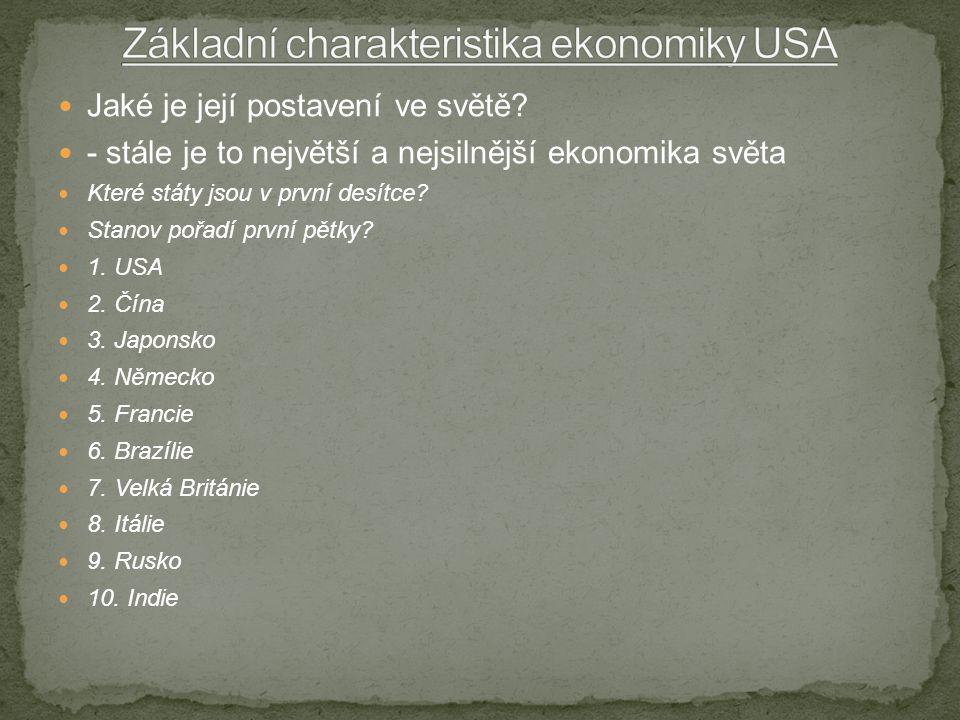 Jaké je její postavení ve světě? - stále je to největší a nejsilnější ekonomika světa Které státy jsou v první desítce? Stanov pořadí první pětky? 1.
