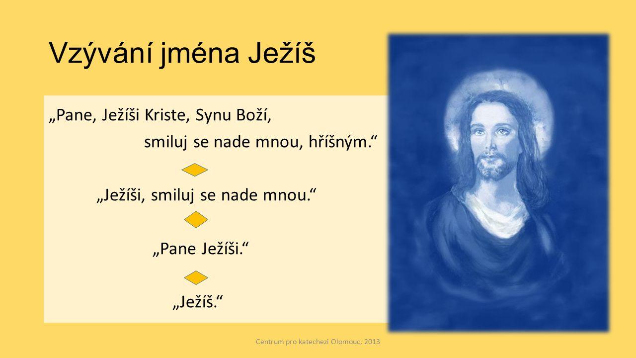 """Vzývání jména Ježíš """"Pane, Ježíši Kriste, Synu Boží, smiluj se nade mnou, hříšným. """"Ježíši, smiluj se nade mnou. """"Pane Ježíši. """"Ježíš. Centrum pro katechezi Olomouc, 2013"""