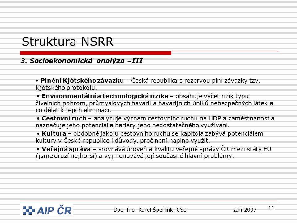 11 Struktura NSRR 3. Socioekonomická analýza –III Plnění Kjótského závazku – Česká republika s rezervou plní závazky tzv. Kjótského protokolu. Environ
