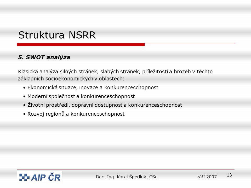 13 Struktura NSRR 5. SWOT analýza Klasická analýza silných stránek, slabých stránek, příležitostí a hrozeb v těchto základních socioekonomických v obl