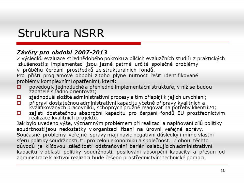 16 Struktura NSRR Závěry pro období 2007-2013 Z výsledků evaluace střednědobého pokroku a dílčích evaluačních studií i z praktických zkušeností s impl