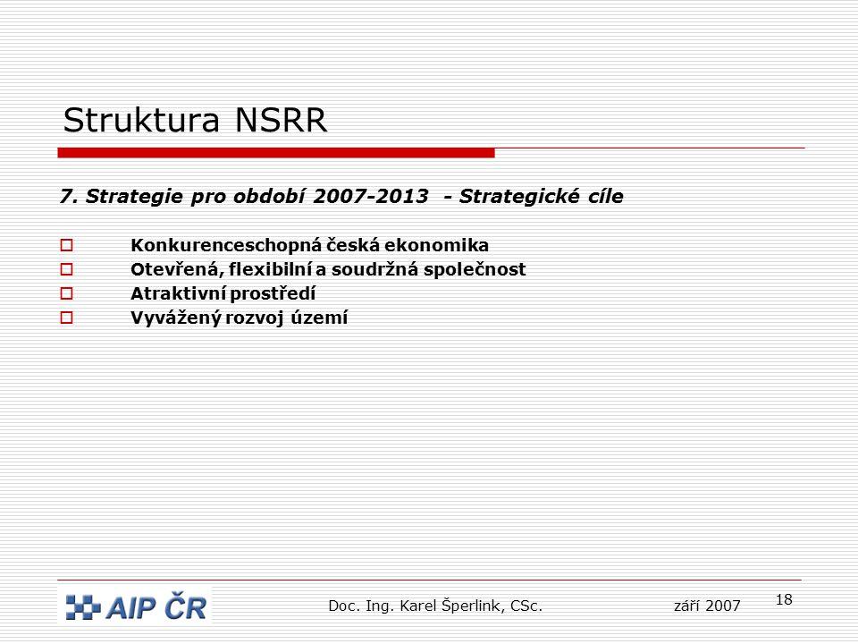 18 Struktura NSRR 7. Strategie pro období 2007-2013 - Strategické cíle  Konkurenceschopná česká ekonomika  Otevřená, flexibilní a soudržná společnos