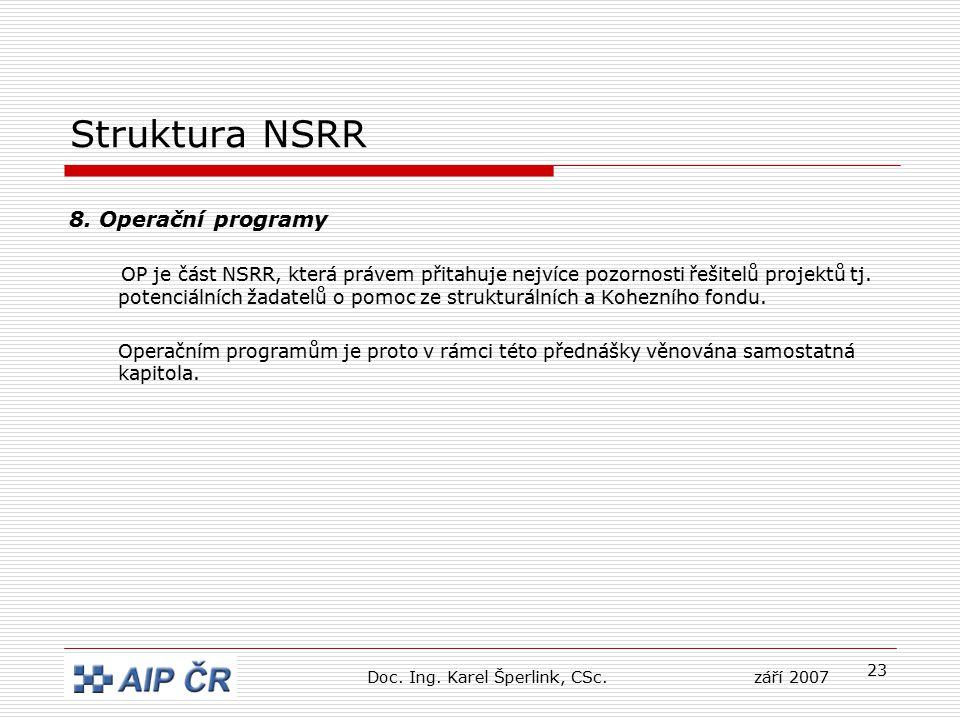 23 Struktura NSRR 8. Operační programy OP je část NSRR, která právem přitahuje nejvíce pozornosti řešitelů projektů tj. potenciálních žadatelů o pomoc