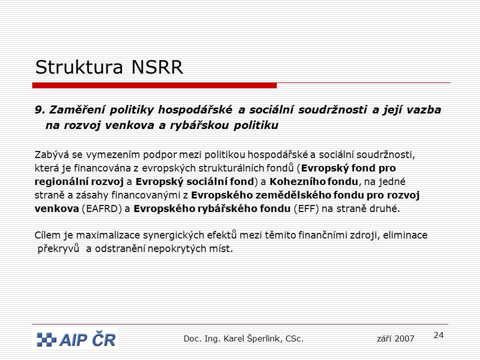 24 Struktura NSRR 9. Zaměření politiky hospodářské a sociální soudržnosti a její vazba na rozvoj venkova a rybářskou politiku Zabývá se vymezením podp