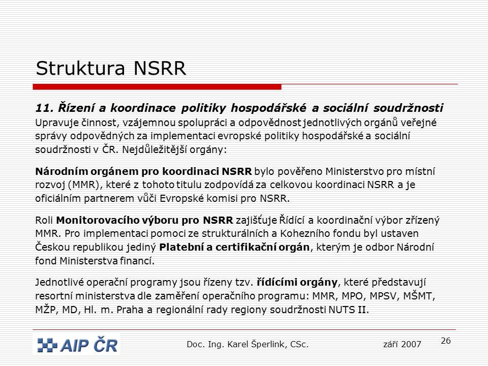 26 Struktura NSRR 11. Řízení a koordinace politiky hospodářské a sociální soudržnosti Upravuje činnost, vzájemnou spolupráci a odpovědnost jednotlivýc