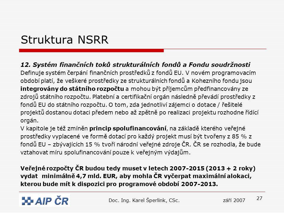 27 Struktura NSRR 12. Systém finančních toků strukturálních fondů a Fondu soudržnosti Definuje systém čerpání finančních prostředků z fondů EU. V nové