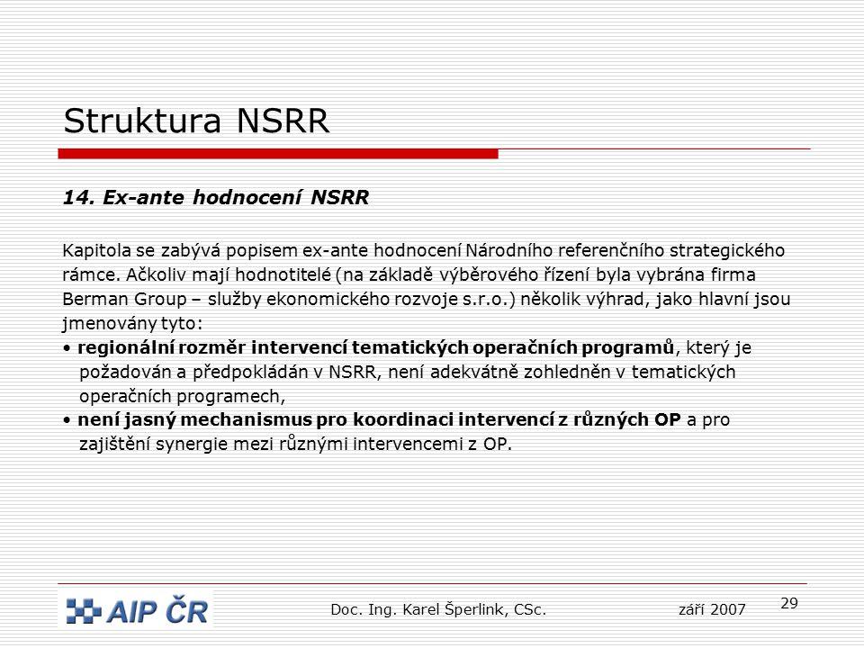 29 Struktura NSRR 14. Ex-ante hodnocení NSRR Kapitola se zabývá popisem ex-ante hodnocení Národního referenčního strategického rámce. Ačkoliv mají hod