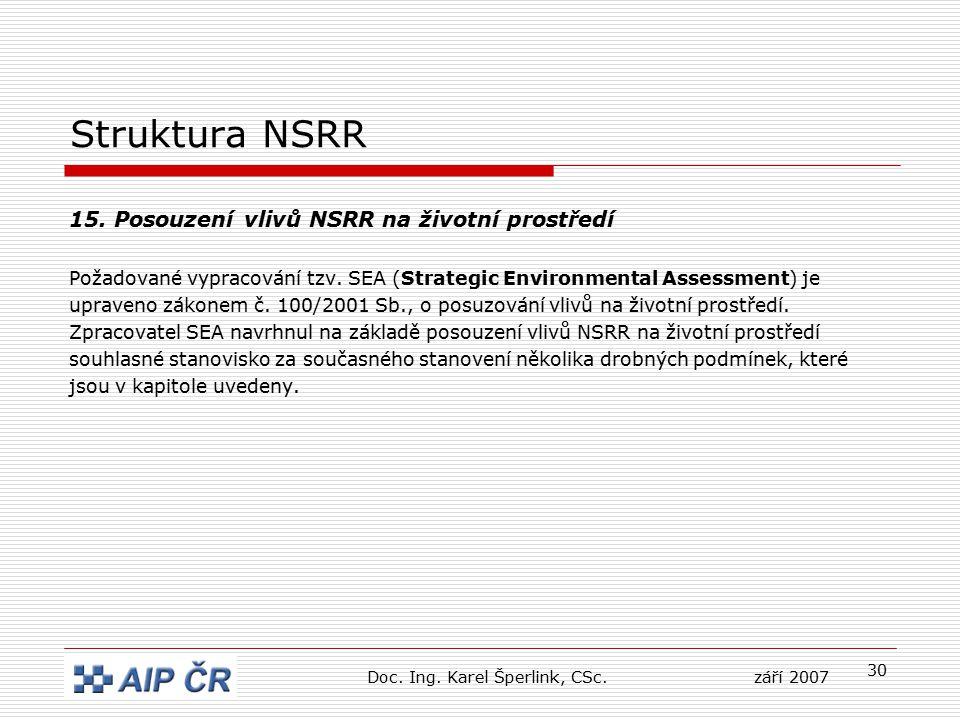 30 Struktura NSRR 15. Posouzení vlivů NSRR na životní prostředí Požadované vypracování tzv. SEA (Strategic Environmental Assessment) je upraveno zákon