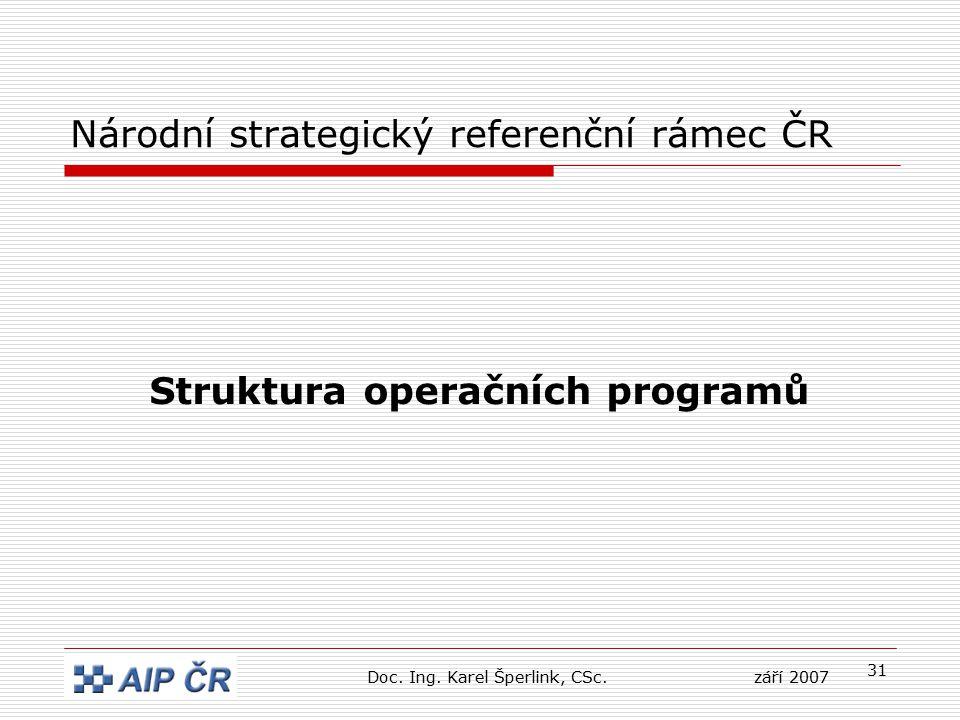 31 Národní strategický referenční rámec ČR Struktura operačních programů Doc. Ing. Karel Šperlink, CSc.září 2007