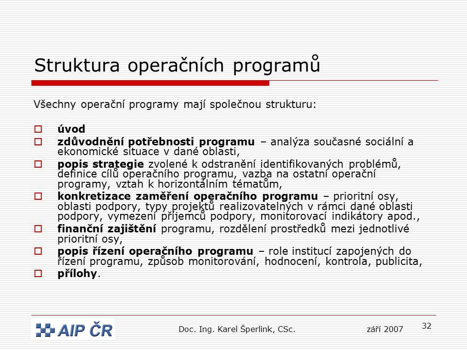 32 Struktura operačních programů Všechny operační programy mají společnou strukturu:  úvod  zdůvodnění potřebnosti programu – analýza současné sociální a ekonomické situace v dané oblasti,  popis strategie zvolené k odstranění identifikovaných problémů, definice cílů operačního programu, vazba na ostatní operační programy, vztah k horizontálním tématům,  konkretizace zaměření operačního programu – prioritní osy, oblasti podpory, typy projektů realizovatelných v rámci dané oblasti podpory, vymezení příjemců podpory, monitorovací indikátory apod.,  finanční zajištění programu, rozdělení prostředků mezi jednotlivé prioritní osy,  popis řízení operačního programu – role institucí zapojených do řízení programu, způsob monitorování, hodnocení, kontrola, publicita,  přílohy.