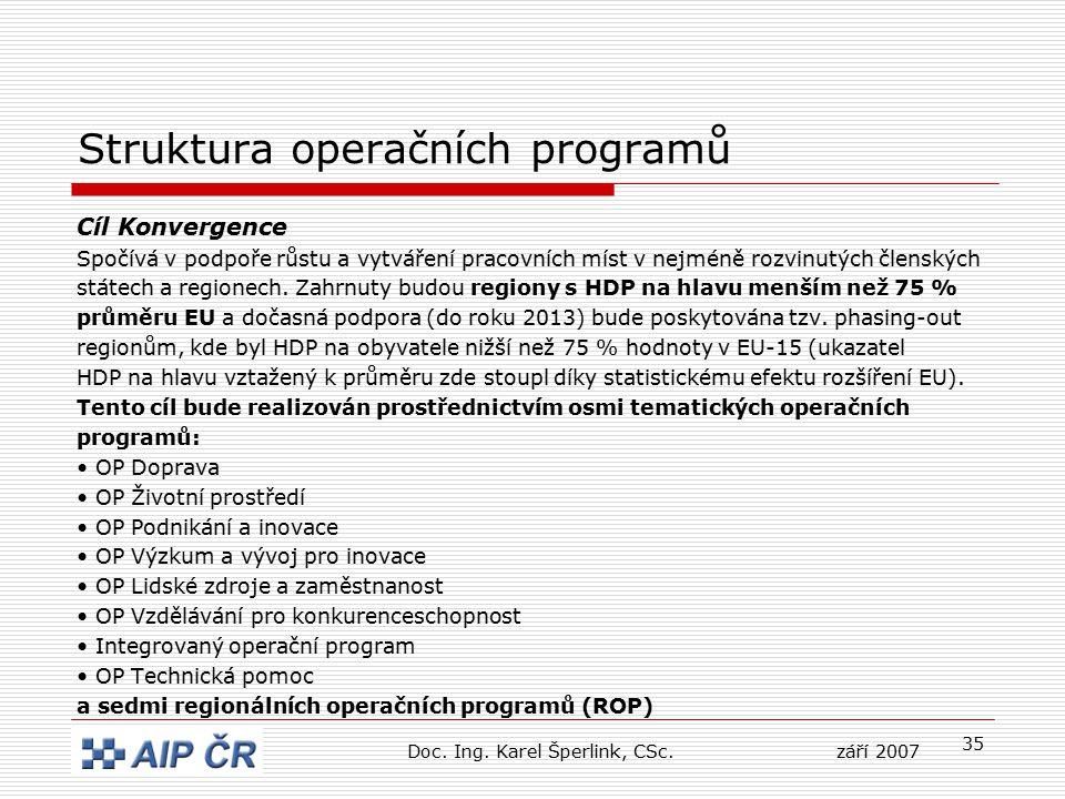 35 Struktura operačních programů Cíl Konvergence Spočívá v podpoře růstu a vytváření pracovních míst v nejméně rozvinutých členských státech a regione