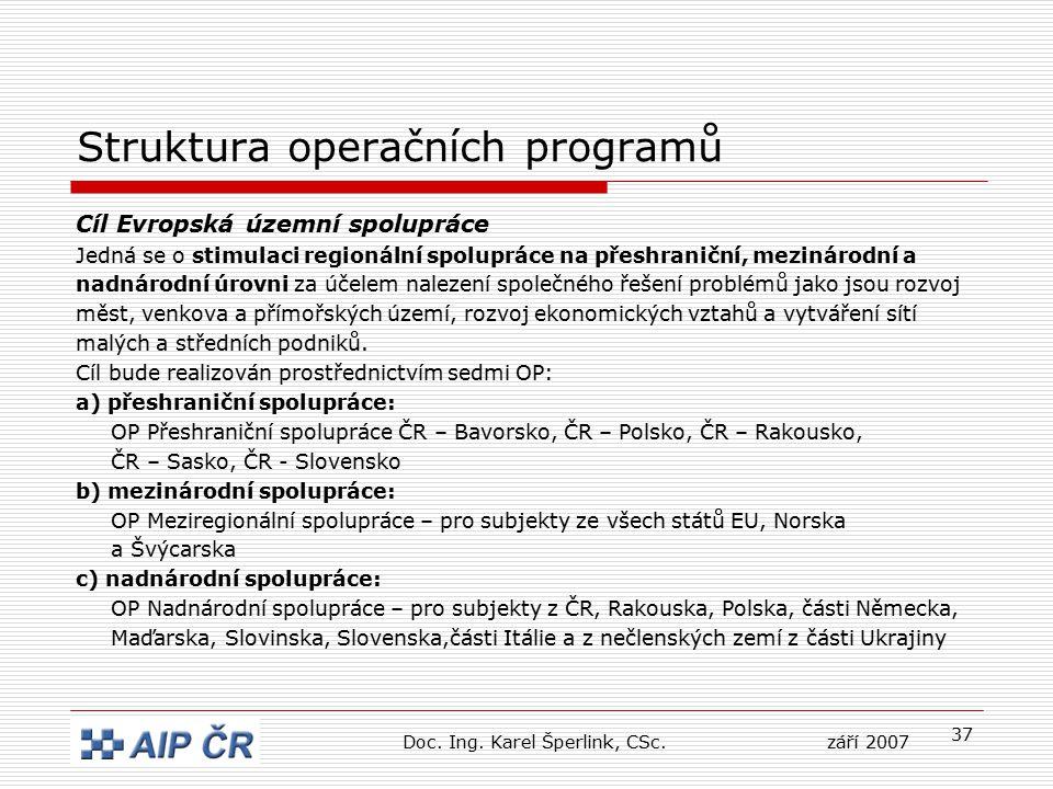 37 Struktura operačních programů Cíl Evropská územní spolupráce Jedná se o stimulaci regionální spolupráce na přeshraniční, mezinárodní a nadnárodní úrovni za účelem nalezení společného řešení problémů jako jsou rozvoj měst, venkova a přímořských území, rozvoj ekonomických vztahů a vytváření sítí malých a středních podniků.