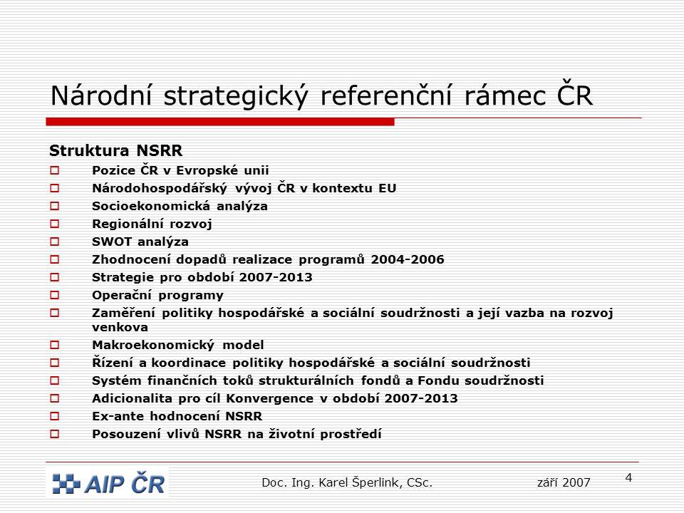 4 Národní strategický referenční rámec ČR Struktura NSRR  Pozice ČR v Evropské unii  Národohospodářský vývoj ČR v kontextu EU  Socioekonomická anal