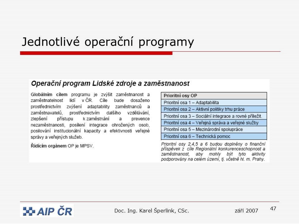 47 Jednotlivé operační programy Doc. Ing. Karel Šperlink, CSc.září 2007