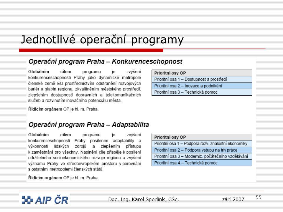 55 Jednotlivé operační programy Doc. Ing. Karel Šperlink, CSc.září 2007