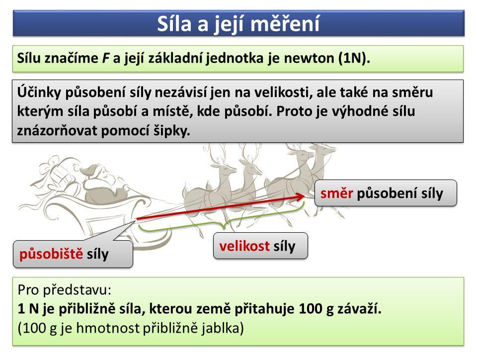 Síla a její měření Sílu značíme F a její základní jednotka je newton (1N). Sílu značíme F a její základní jednotka je newton (1N). Účinky působení síl