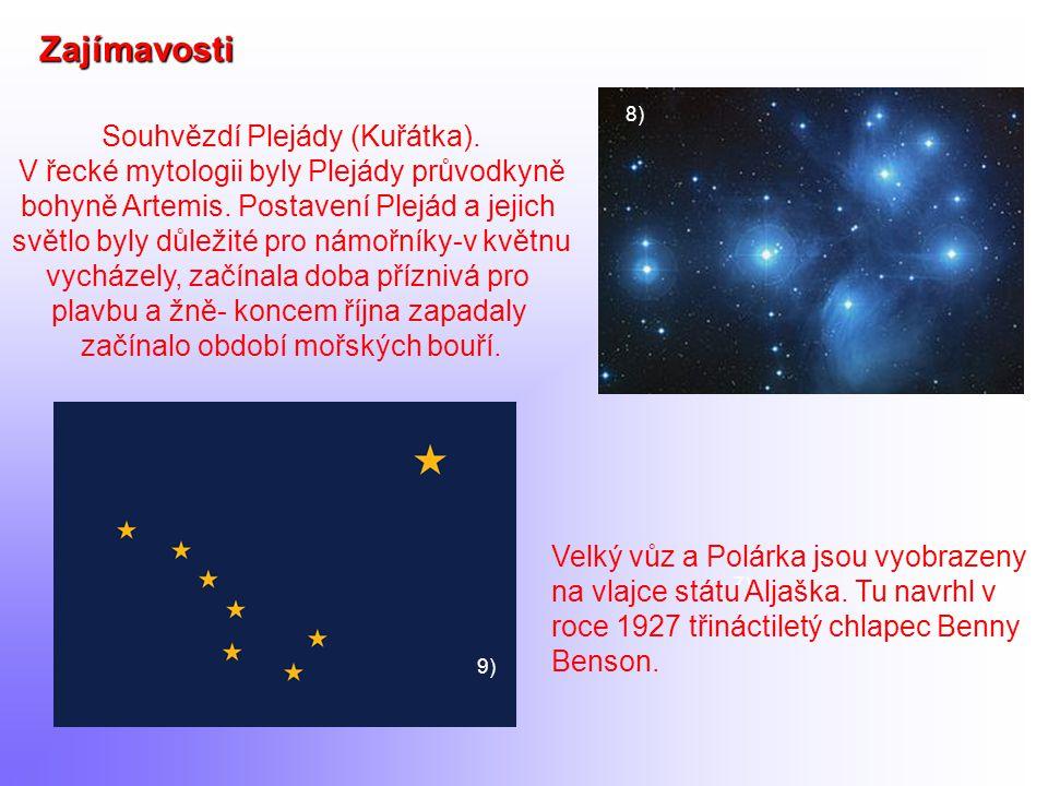 7) Zajímavosti 8) Souhvězdí Plejády (Kuřátka). V řecké mytologii byly Plejády průvodkyně bohyně Artemis. Postavení Plejád a jejich světlo byly důležit