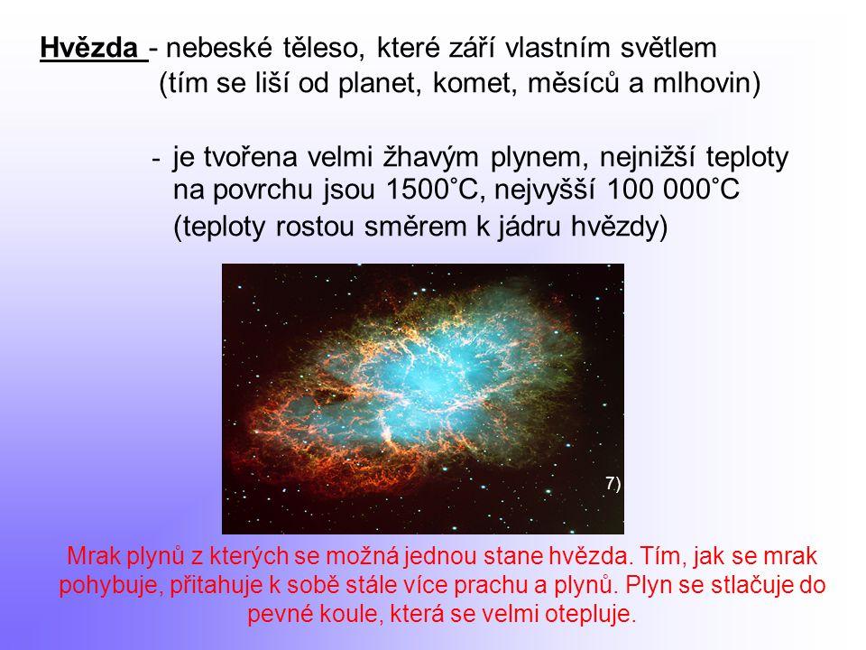 - vzniká smršťováním mezihvězdného prachu a plynů, v jádře probíhají termonukleární reakce (syntéza vodíku na helium) Hmotnost hvězd - vztahuje se k hmotnosti Slunce = 1,9891 × 10 kg 30 Nejhmotnější hvězda Eta Carinae je asi 150krát těžší než Slunce.