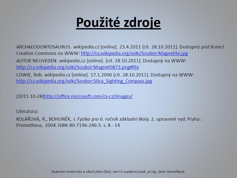 Použité zdroje ARCHAEODONTOSAURUS.wikipedia.cz [online].