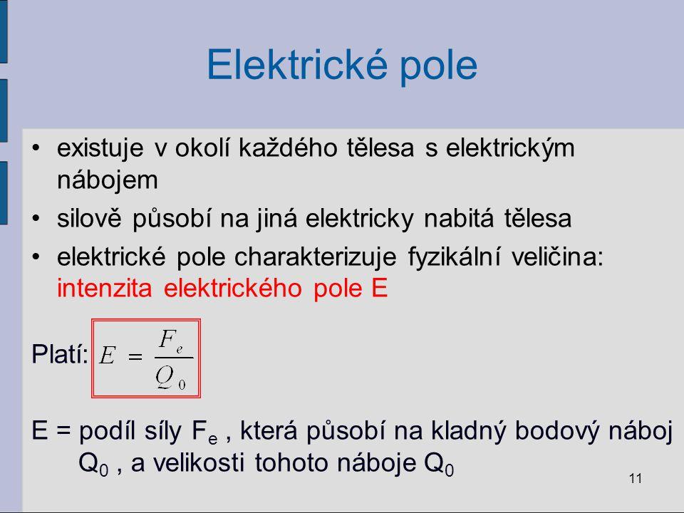 Elektrické pole existuje v okolí každého tělesa s elektrickým nábojem silově působí na jiná elektricky nabitá tělesa elektrické pole charakterizuje fyzikální veličina: intenzita elektrického pole E Platí: E = podíl síly F e, která působí na kladný bodový náboj Q 0, a velikosti tohoto náboje Q 0 11