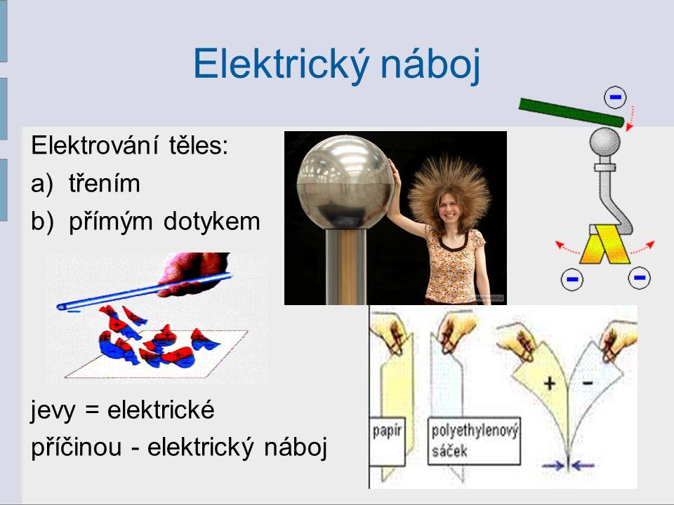Elektrický náboj Elektrování těles: a)třením b)přímým dotykem jevy = elektrické příčinou - elektrický náboj 2