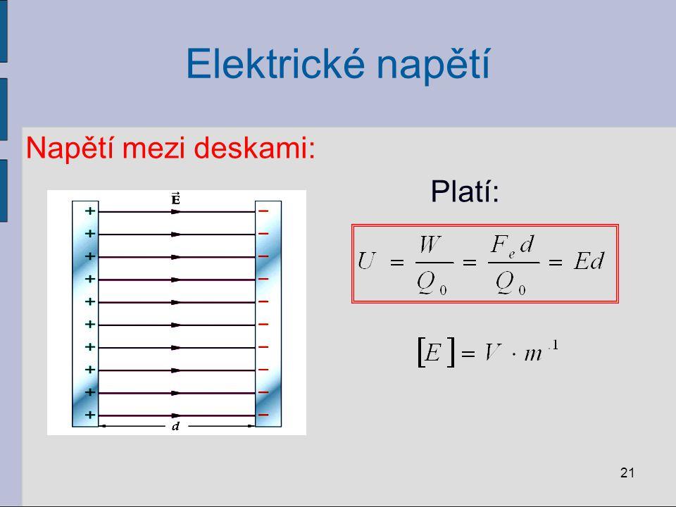 Elektrické napětí Napětí mezi deskami: Platí: 21