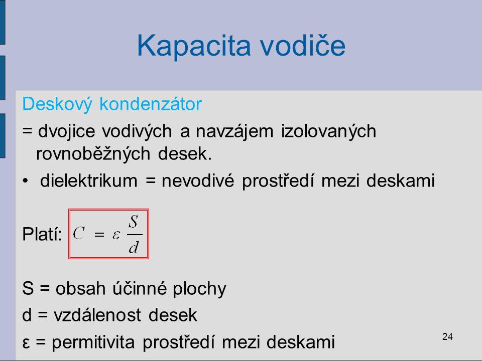 Kapacita vodiče 24 Deskový kondenzátor = dvojice vodivých a navzájem izolovaných rovnoběžných desek. dielektrikum = nevodivé prostředí mezi deskami Pl