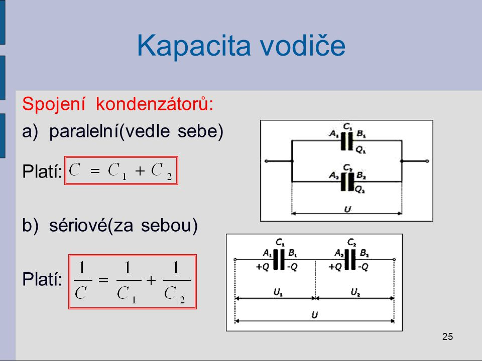 Kapacita vodiče 25 Spojení kondenzátorů: a)paralelní(vedle sebe) Platí: b)sériové(za sebou) Platí: