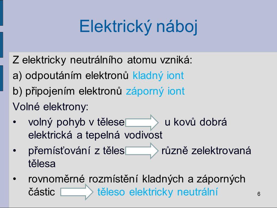 Elektrický náboj Z elektricky neutrálního atomu vzniká: a) odpoutáním elektronů kladný iont b) připojením elektronů záporný iont Volné elektrony: voln