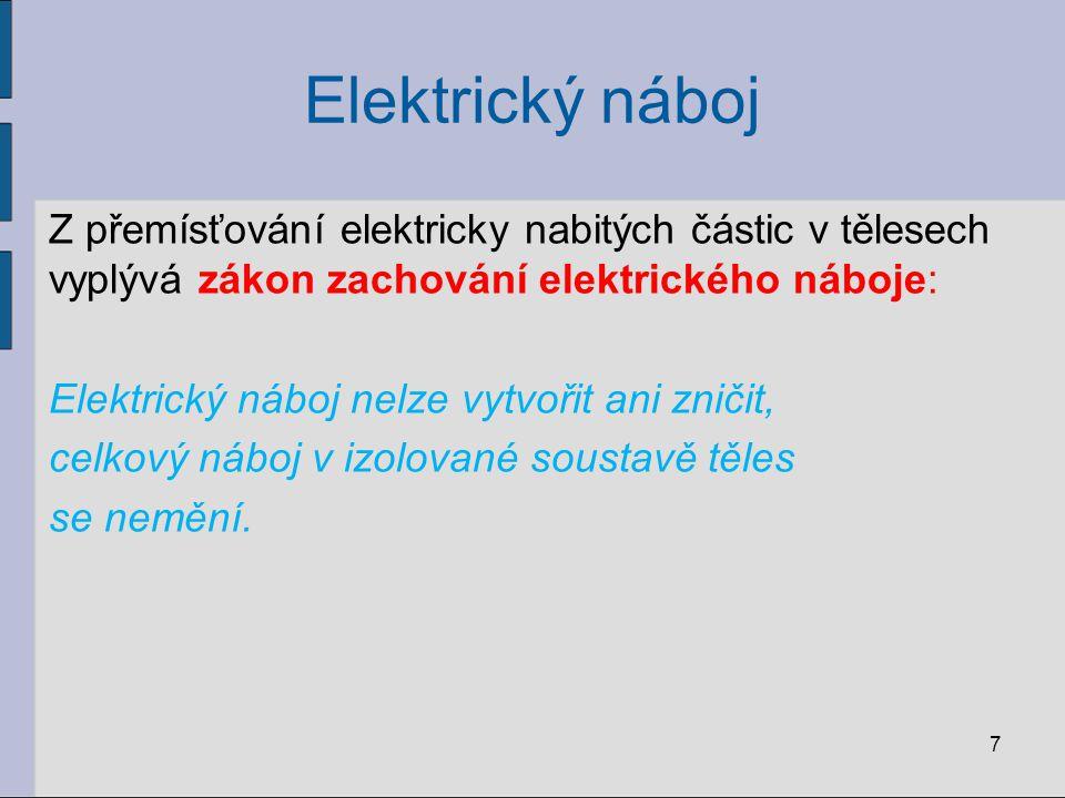 Elektrický náboj Z přemísťování elektricky nabitých částic v tělesech vyplývá zákon zachování elektrického náboje: Elektrický náboj nelze vytvořit ani zničit, celkový náboj v izolované soustavě těles se nemění.