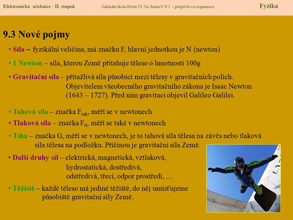 9.3 Nové pojmy Elektronická učebnice - II. stupeň Základní škola Děčín VI, Na Stráni 879/2 – příspěvková organizace Fyzika Síla – fyzikální veličina,