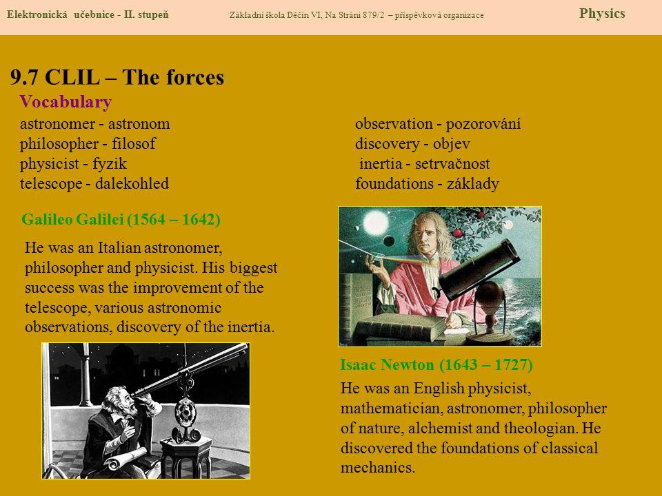 9.7 CLIL – The forces Elektronická učebnice - II. stupeň Základní škola Děčín VI, Na Stráni 879/2 – příspěvková organizace Physics Vocabulary astronom