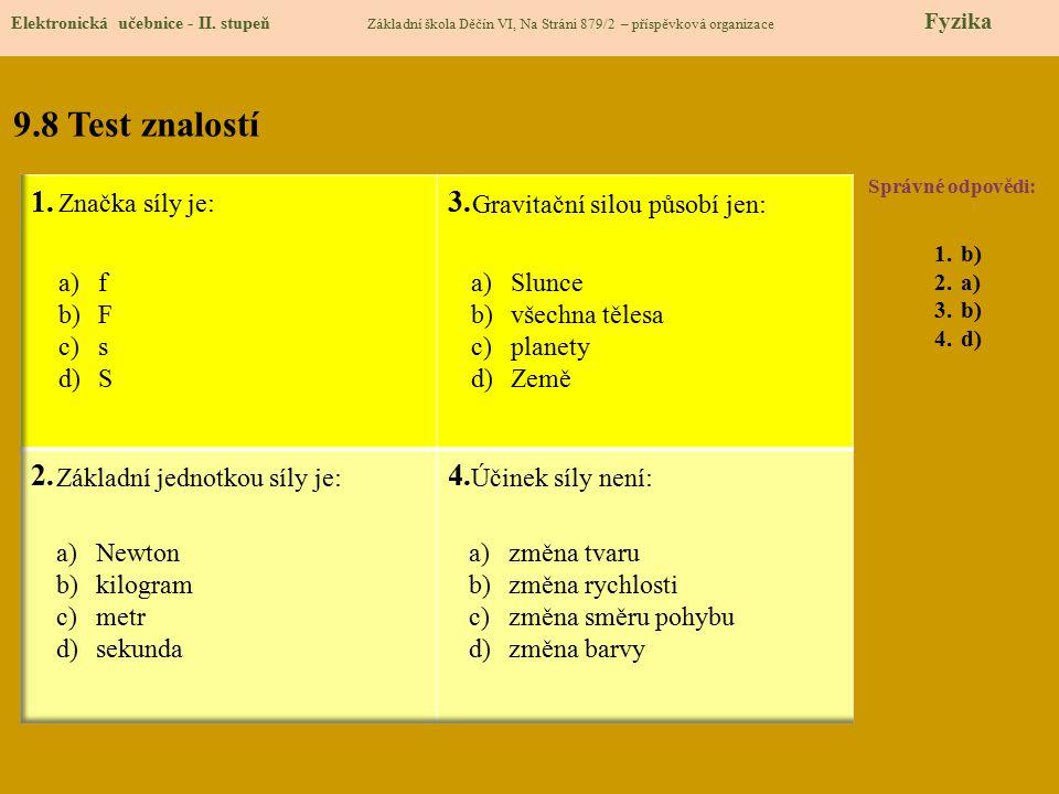 9.8 Test znalostí Správné odpovědi: 1.b) 2.a) 3.b) 4.d) Elektronická učebnice - II. stupeň Základní škola Děčín VI, Na Stráni 879/2 – příspěvková orga