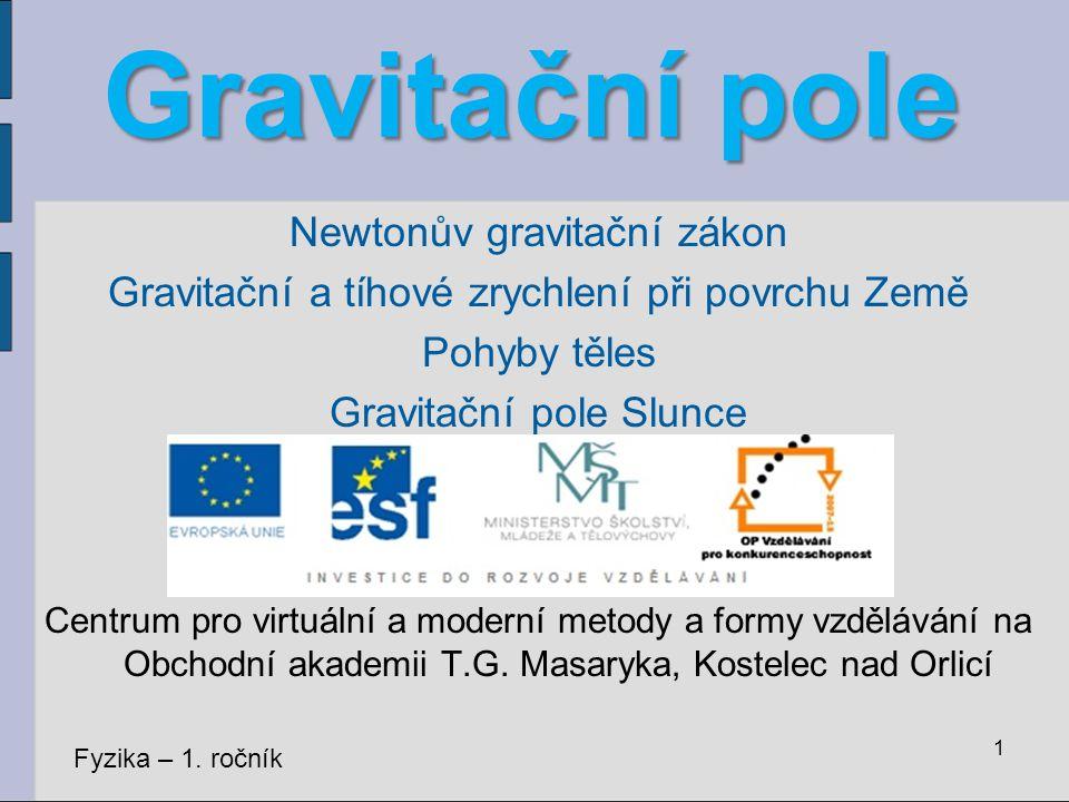 Gravitační pole Newtonův gravitační zákon Gravitační a tíhové zrychlení při povrchu Země Pohyby těles Gravitační pole Slunce Centrum pro virtuální a m