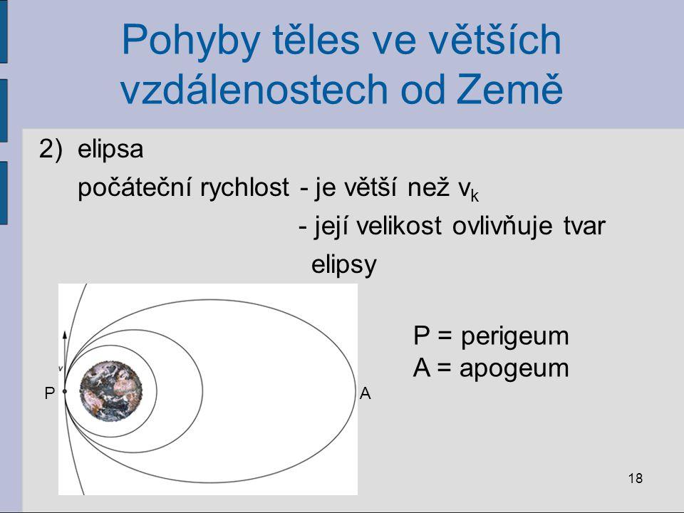 Pohyby těles ve větších vzdálenostech od Země 2)elipsa počáteční rychlost - je větší než v k - její velikost ovlivňuje tvar elipsy 18 PA P = perigeum