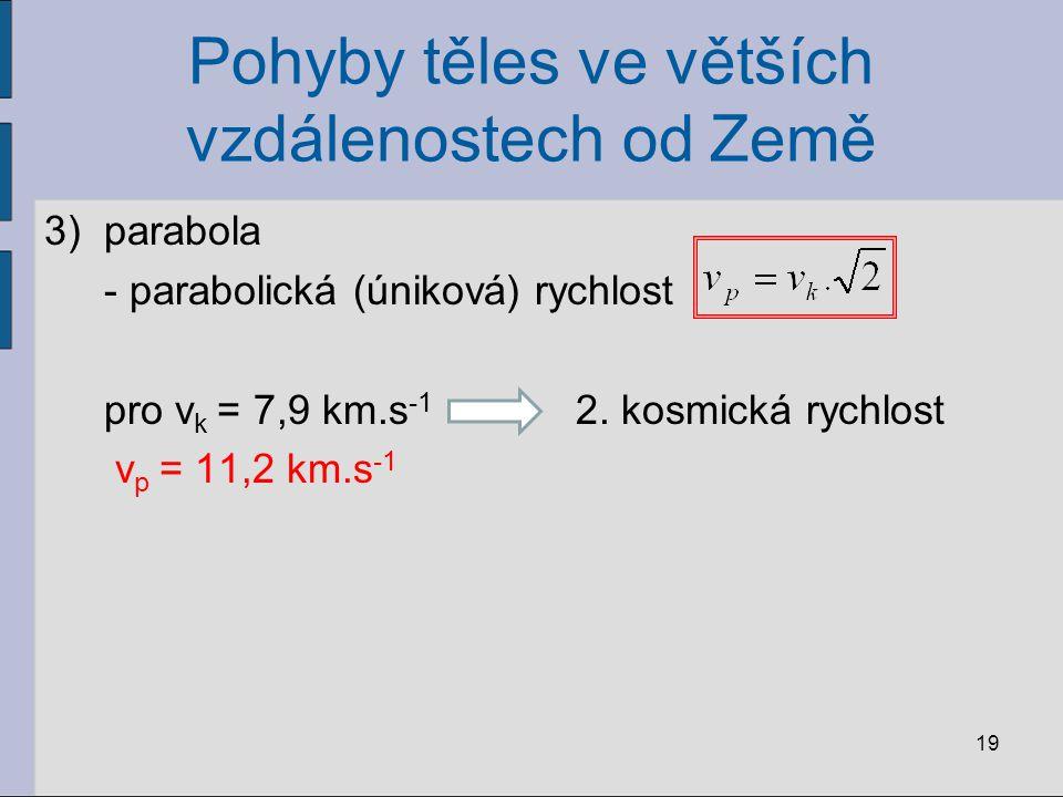 Pohyby těles ve větších vzdálenostech od Země 3)parabola - parabolická (úniková) rychlost pro v k = 7,9 km.s -1 2. kosmická rychlost v p = 11,2 km.s -