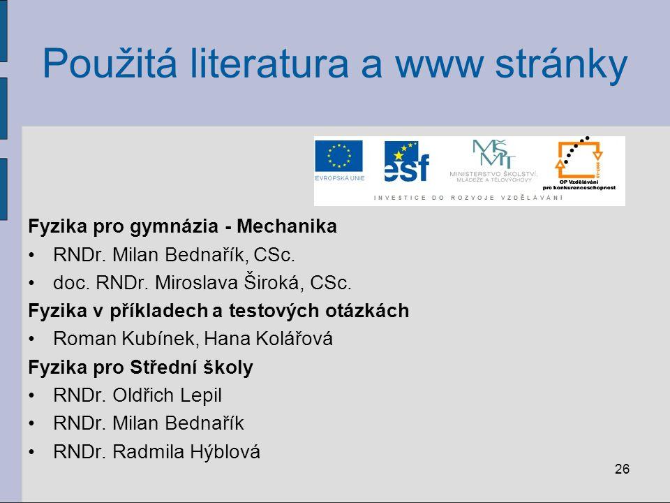 Použitá literatura a www stránky Fyzika pro gymnázia - Mechanika RNDr. Milan Bednařík, CSc. doc. RNDr. Miroslava Široká, CSc. Fyzika v příkladech a te