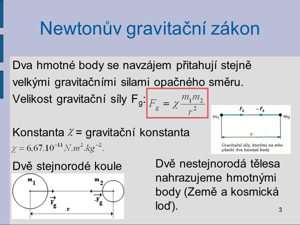 Newtonův gravitační zákon Dva hmotné body se navzájem přitahují stejně velkými gravitačními silami opačného směru. Velikost gravitační síly F g : Kons