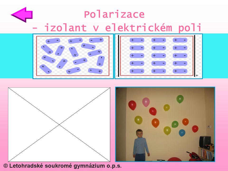 © Letohradské soukromé gymnázium o.p.s. Polarizace - izolant v elektrickém poli